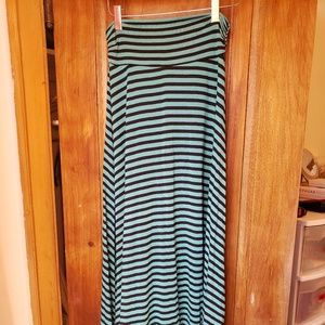 Turquoise and Black Striped Maxi Skirt